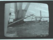 Разрезанная труба на крыше 3-его энергоблока (фото сделано с мониторов пульта управления)